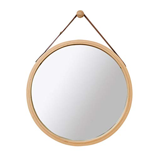 Wall Round Mirror with Adjustable Faux Leather Hanging Strap|Bamboo Framed|Bathroom Wall-Mounted Vanity Mirrors Make-up Cosmetic Wall Hanging Mirror (Color : Wood Color, Size : 45cm)