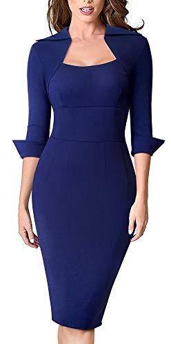 HOMEYEE Women's Lapel Square Neck 3/4 Sleeve Business Professional Dress B471(8,Dark Blue)