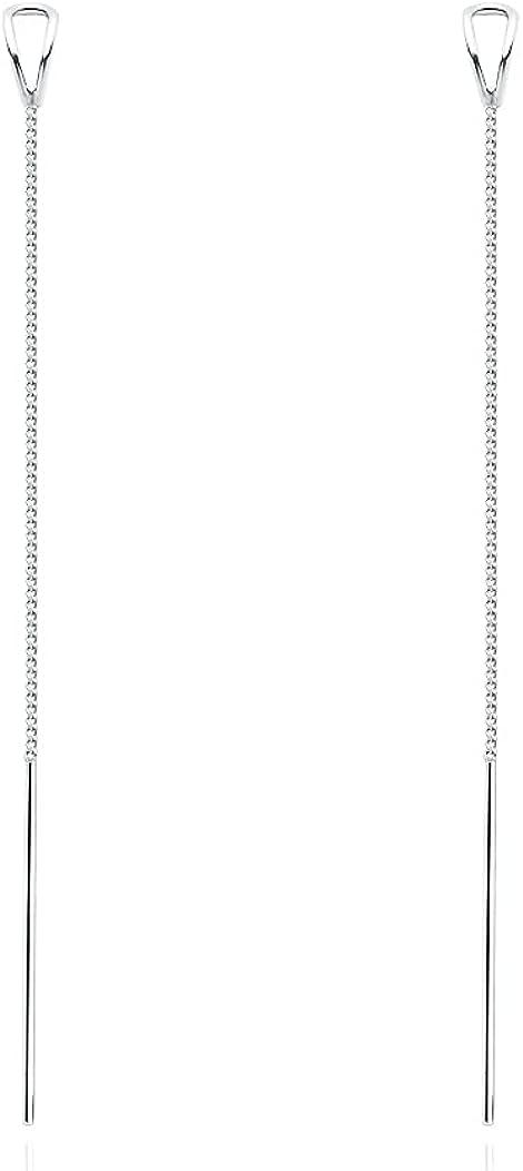 SLUYNZ 925 Sterling Silver Open Triangle Loop Earrings Threader for Women Girls Minimalist Drop Dangle Earring Chain long Ear Line
