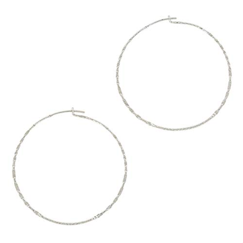 (And Lovely Silver Plated Hammered Boho Chic Hoop Wire Handmade Earrings (Shiny Silver 50mm) )