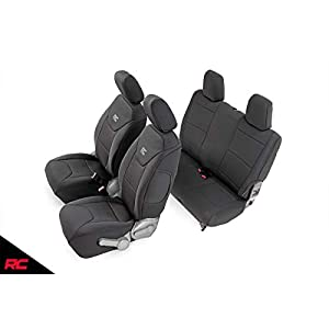 Rough Country Neoprene Seat Covers | (fits) 2007-2010 Jeep Wrangler JK 2DR | 1st/2nd Row | Water Resistant | | 91005, 2…