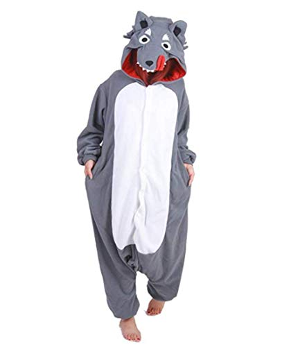 Cousinpjs Adult Cosplay Costume Animal Sleepwear Halloween Pajamas (Large, Grey Wolf) -