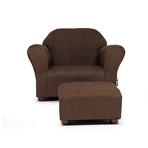 (KEET Roundy Child Size Chair with Microsuede Ottoman, Brown, Ages 2-5 years)