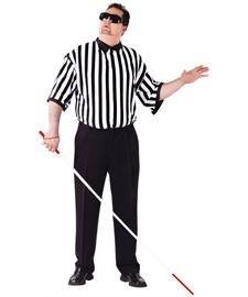 FunWorld Men's Please Blind Referee Costume, White/Black, PLUS