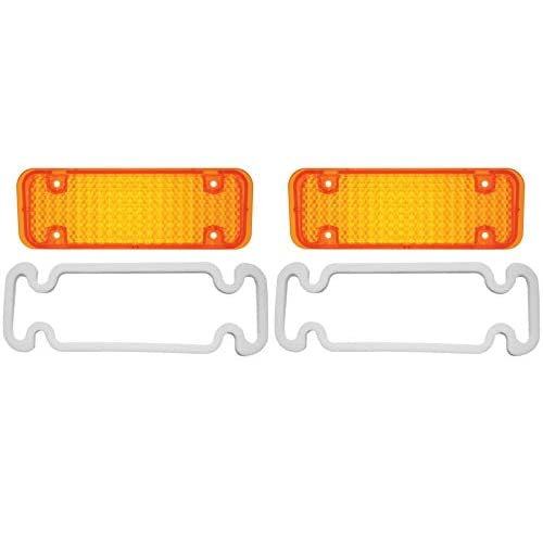 United Pacific (2) 1971-1972 Chevy Truck Parking Light Lenses with Gaskets, Amber Lens, Pair