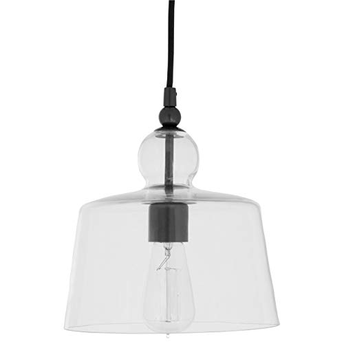 Stone Beam Modern Ceiling Pendant Light Chandelier Fixture With Glass Shade – 11.5 x 11.5 x 42 Inches, Black