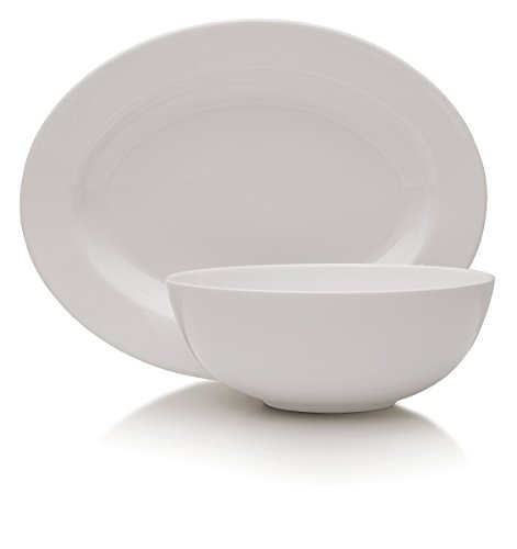 - Mikasa Delray 14-Inch Oval Platter and 9-Inch Vegetable Bowl Set