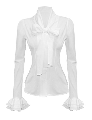 Mosocow Women's Vintage Bow Tie Neck Long Sleeve Shirt Blouse Tops