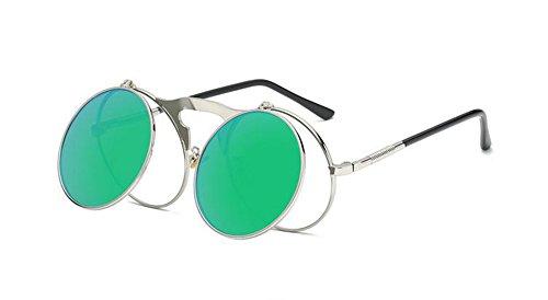 steampunk design lunettes soleil gothique Worclub UV Argent protection neutre Style Vert de style lunettes ronde cadre rétro 05POtrPwq