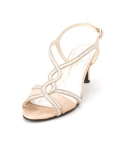 (Caparros Womens Lilly Open Toe Bridal Ankle Strap Sandals, Nude Glitz, Size 9.0)