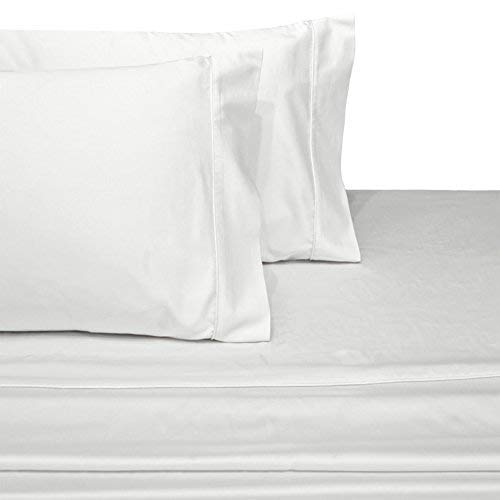 (PS Linen100% Egyptian Cotton Split-Top-King (Adjustable King Bed Size Sheets) 800TC, Solid White, Sateen Weave, 18 inch Deep Pocket, 4PC Bed Sheet Set)