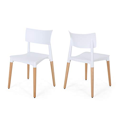 - Christopher Knight Home 308948 Isabel Modern Dining Chair with Beech Wood Legs (Set of 2), White and Natural,