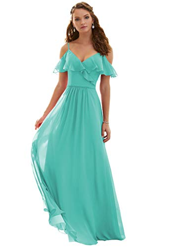 Women's Off The Shoulder V Neck Long Evening Party Dress Chiffon Ruffles Bridesmaid Prom Dress Turquoise Size 12