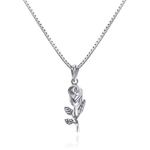 Tiny Rose Pendant Necklace Sterling Silver Mini Vintage 3D Rose Leaf Necklace (silver) Vintage Sterling Pendant