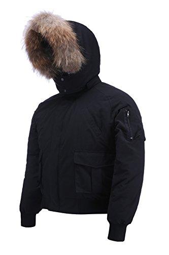 Arctic Residents Men's Mountain Ski Jacket Windproof Jacket Men's Heavy Insulated Parka Mens Hooded Down Jacket Parka Black Size ()