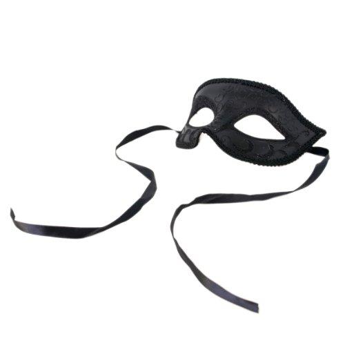 Half Style Mask (Venetian Style Mardi Gras Masquerade Costume Half Mask, Black (6107))