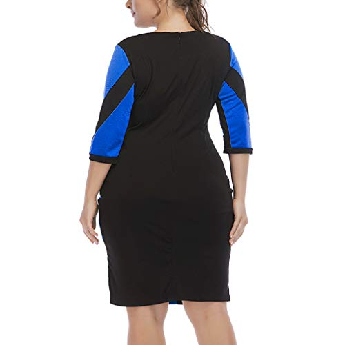 Claystyle Talla Grande Moda para Mujer O-Cuello Pachwork Casual Vestido de Manga tres cuartos Blue