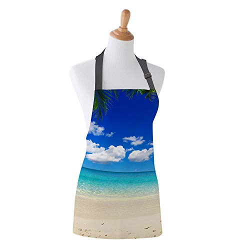 Apron Tropical Ocean Coast Island Palms Trees Theme Design Kitchen Bib Apron Ideal for Cooking Dishwashing Cleaning Painting 26X31Inch