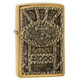 Zippo Gear Design Pocket Lighter, Brushed Brass