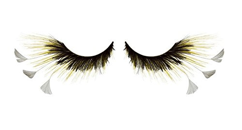 Zinkcolor Black Yellow White Mix Feather False Eyelashes F481costume Dance (White Feather Lashes)