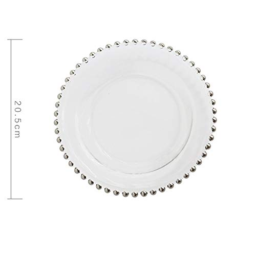 European Glass Pearl Gold Inlay Dishes Steak Plate Salad Dishes Wedding Party Event Decoration Tableware ()