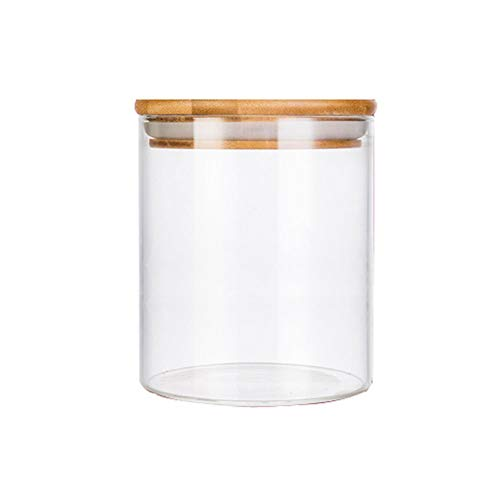 - Storage Container,Transparent Empty Cylindrical Glass Sealed Tank with Wooden Cover Tea Candy Snacks Spices Storage Holder Refillable Reusable Pot Jar Bottle Can for Daily Life