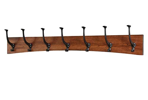 PegandRail Solid Cherry Wall Coat Rack Curved Design Black Mission Hooks Made in The USA (41