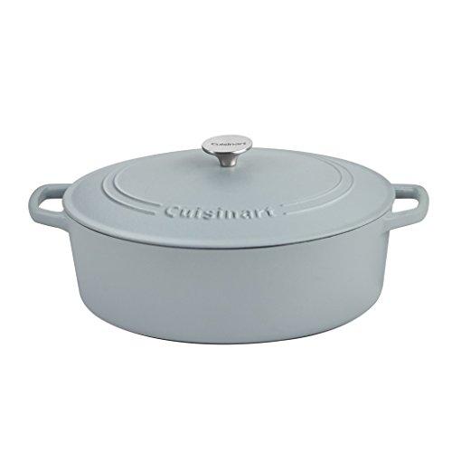 Cuisinart Oval Cast Iron Casserole, Matte Grey, 7 Qt