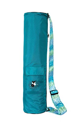 Fox Hill Fitness Yoga Mat Bag for Kids, Sling Carrier with Adjustable Sequin Strap | Zipper Close | Top Mesh Air Vent