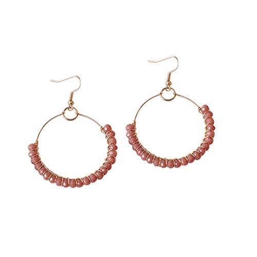 (Outeck Bohemian Earrings for Women Metal Beaded Birthday Gift Geometric Round Hoop Earrings Dangle Earrings (Pink))