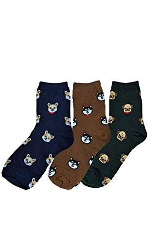 Funny Socks For Men and Women Novelty Socks 3 Pairs - Corgi, Pug, Husky, Dogs - Cool gift sock set