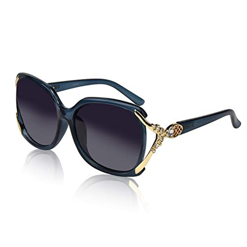 Ladies Rectangle Square Sunglasses Polaroid Eyewear Bling Crystal Butterfly Blue -