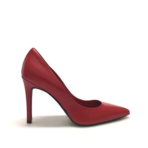 Rosso A Alto Shoe Tacco Italy Made Gar In Punta Vera Décolleté Pelle Con Rosse ORWg1qRZS