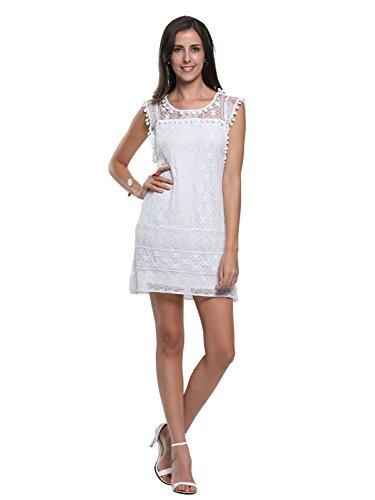 Persun Women's White Crochet Floral Lace Pom Pom Trim Sleeveless Shift Dress