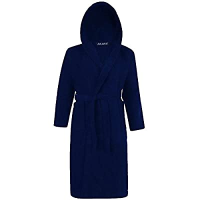 Mens & Ladies 100% Cotton Terry Towelling Hooded Shawl Collar Bathrobe Dressing Gown Bath Robe