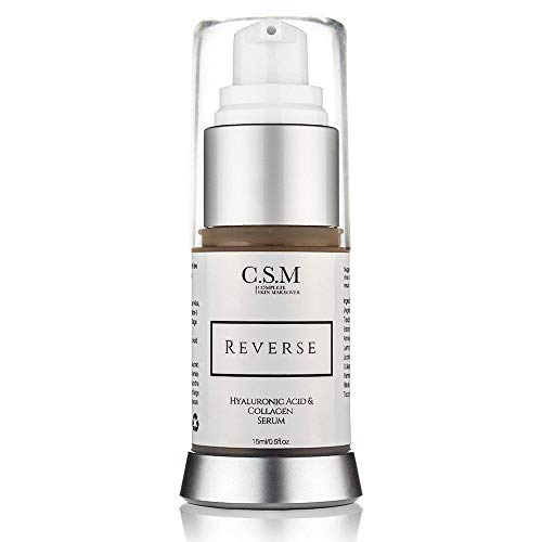 CSM Reverse Anti Aging Eye Serum with Hyaluronic Acid, Peptides, Vitamin C for Dark Circles Under Eyes, Wrinkles and Fine Lines, Bags, Puffiness – Natural and Organic Moisturizing Eye Cream