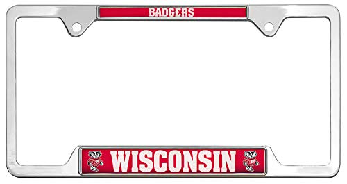 All Metal NCAA Mascot License Plate Frame - License Frame Badgers Wisconsin Plate