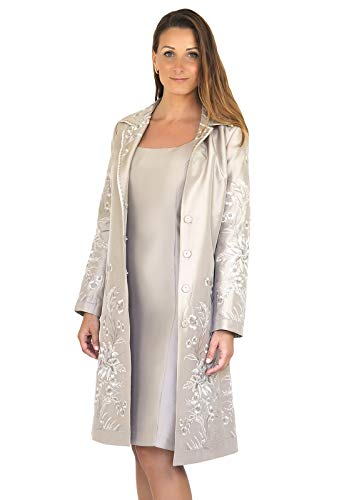 Women's Mother of The Bride Silk Dress Coat Two-Piece - Long Sleeve Embroidered Coat and Tea Length Dress Champagne 10