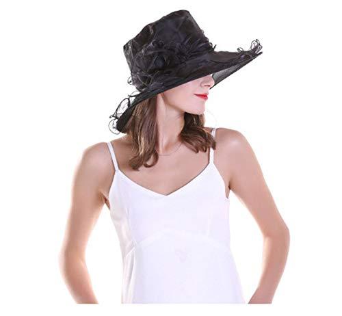 Gespout Cappello Donne Estivo Primavera Protezione UV Cappello Cappellini con Visiera Organza Chiffon Fiore Colore Puro Topper Pieghevole da Viaggio Tesa Larga Berretto da Spiaggia,Bianco