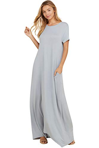 Annabelle Women's Solid Knit Floor Length Maxi Dress L Grey Large D5418