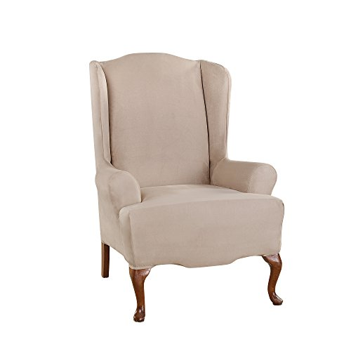 Sure Fit Ultimate Heavyweight Stretch Suede Wing Chair Slipcover (Cement, Wing Chair)