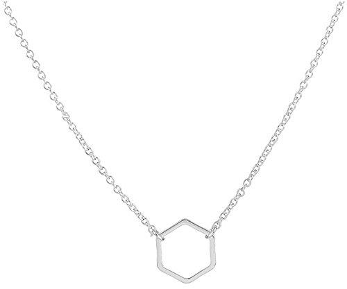 Adecco LLC Gold Hexagon Necklace - Delicate gold necklace, Geometric Jewelry, Dainty gold necklace, Minimalist necklace (Silver)