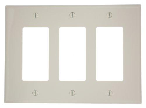 3 Leviton Nylon Gang Decora (Leviton PJ263-T 3-Gang Decora/GFCI Wallplate, Midway Size, Light Almond)