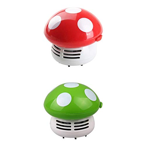 MagiDeal 2 pcs Mini Dust Vacuum Cleaner Mushroom Corner Desk Table Sweeper Red+Green, adding some vitality to your home or office by Unknown