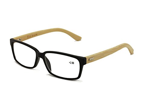 Vision World Genuine Bamboo Rectangular Reading Glasses Men Women Readers (Black, 2 - Lenses Real Glasses Reading With Glass
