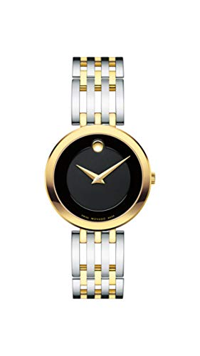 (Movado Women's Esperanza 2-Tone Watch with Concave Dot Museum Dial, Silver/Gold/Black (Model 607053))
