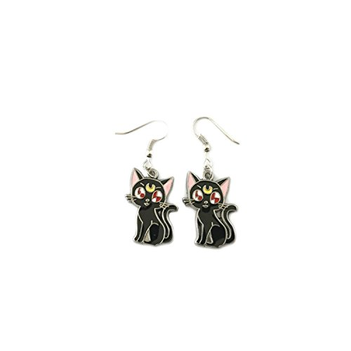 Luna Black Cat Sailor Moon Anime Drop Earrings With Gift Box from Outlander Gear -