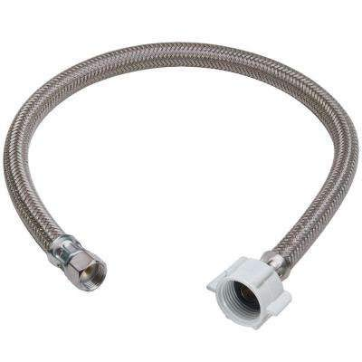 CrownFlex Toilet Connector, Braided Stainless Steel - 1/2'' F.I.P. Thread x 7/8'' Female Ballcock Thread, 20'' Length 7/8' Ballcock Thread Stainless Steel