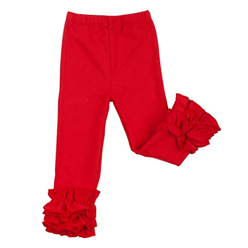 Slowera Little Girls' Ruffle Leggings Baby Toddler Solid Color Flower Pants (Red, S: 24-36 Months)