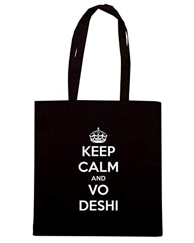 Speed Shirt Borsa Shopper Nera TKC1418 KEEP CALM AND VO DESHI